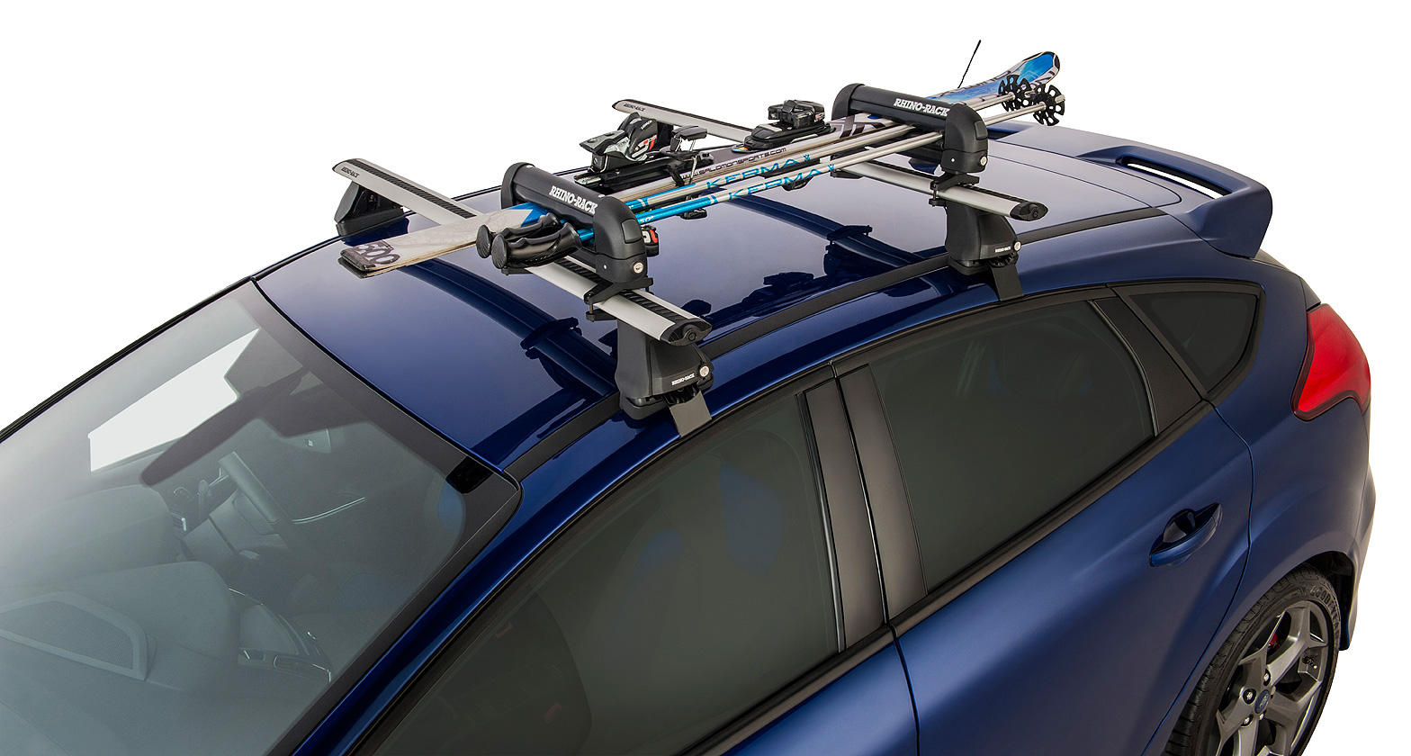 Ski carrier and fishing rod holder holds 2 skis or 1 for Roof rack fishing rod holder