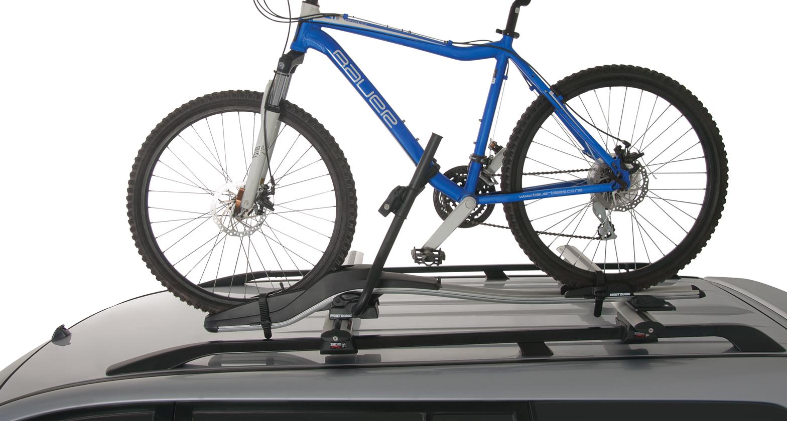 Roof bar bike carrier