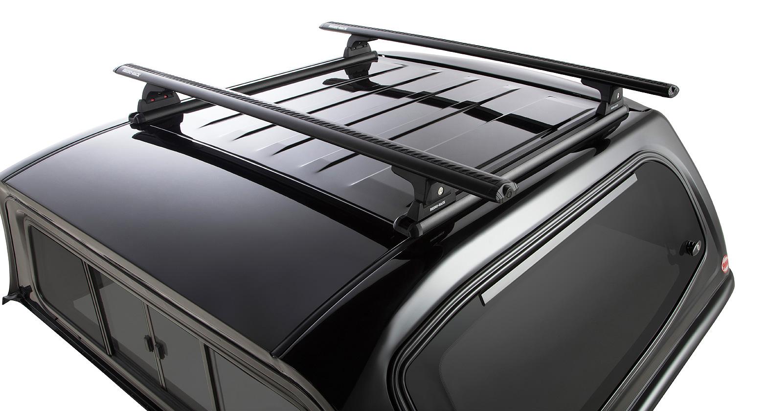 Rhino Roof Bar Fitting: Vortex RLT600 Trackmount Black 2 Bar Roof Rack